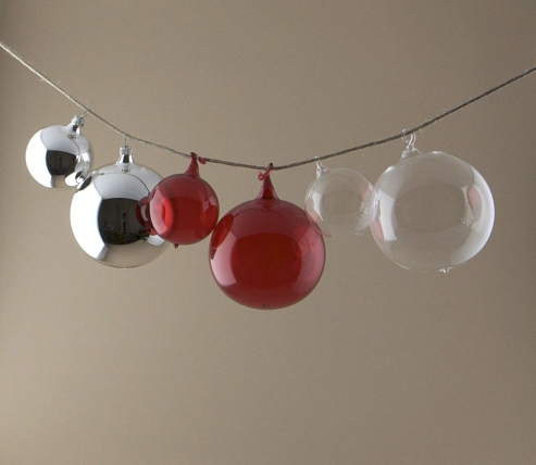 Mouth blown clear and coloured glass baubles