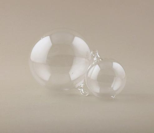3 clear 8cm blown-glass baubles