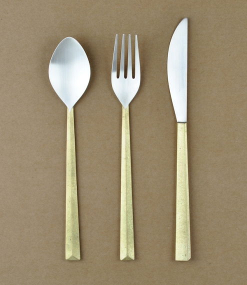 Ihada brass and silver spoon L (189mm x 36mm)