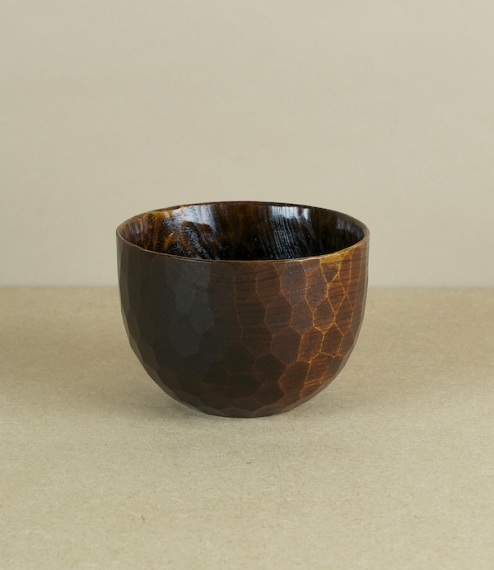 A choice of fuki-urushi lacquered bowls, a smaller miso and serving bowl of golden red sakura (Japanese cherry), or a larger deep ramen bowl of dark a..
