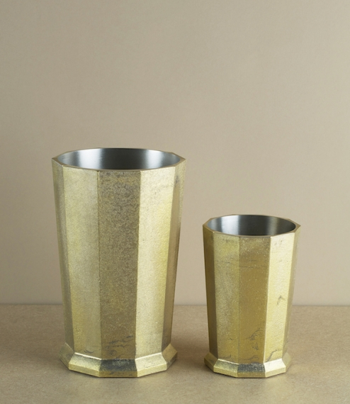 Hand poured sand-cast brass tin lined weighted tool holders or desk tidies from a foundry founded in 1897 in the city of Takaoka, Toyama Prefecture. W..