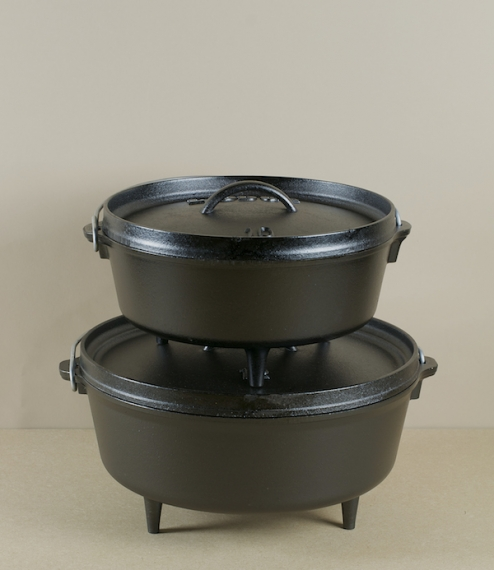 Pre-seasoned cast iron dutch oven, with a heavy tight fitting lid, and three stubby legs. The Dutch oven is designed to be used directly in a fire, wh..