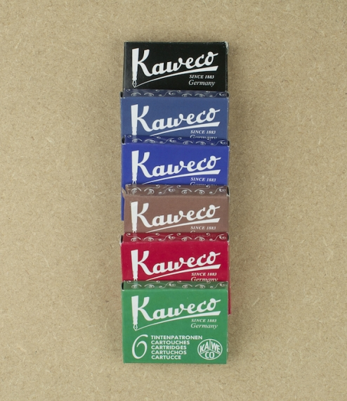 Kaweco superior ink cartridges box of 6, pearl black, royal blue, midnight blue, palm green, ruby red, or caramel brown. Standard short international ..