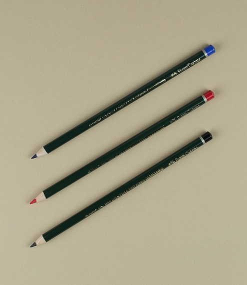 Indelible pencils suitable for use on cheques, deeds, or contracts. Traditionally a lawyers pencil, but also commonly used by reporters before the inv..