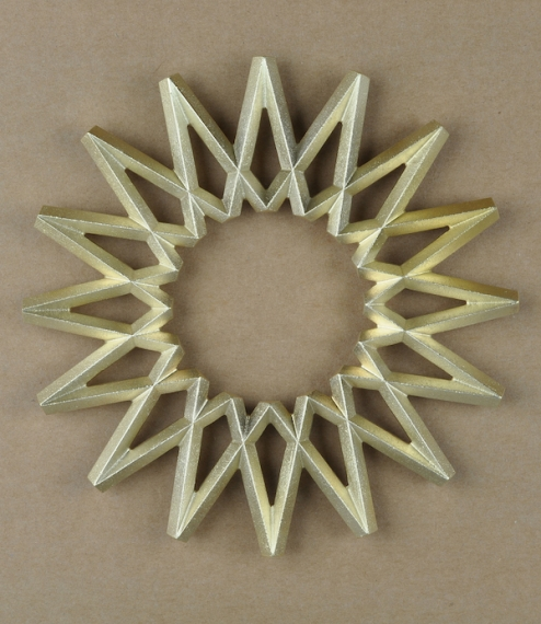Hand sand-cast brass trivets from a foundry founded in 1897 in the Japanese city of Takaoka in the Toyama Prefecture. The castings are largely left ih..