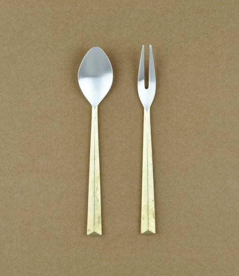 Hand sand-cast brass and silver cutlery from a foundry founded in 1897 in the Japanese city of Takaoka in the Toyama Prefecture, Japan. Created by Oji..