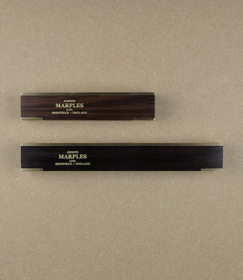 6 or 9 inch spirit levels made of sustainably harvested walnut rather than the now protected and increasingly rare rosewood. With upper brass plates, ..