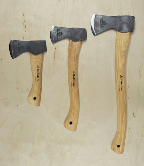 Hand forged, shaped, ground, and assembled axes from Hults Bruk in Sweden, mounted on seasoned, oiled hickory heartwood handles. The blade edges are t..