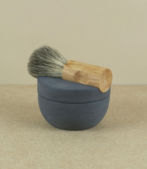 A maple and badger hair shaving brush, 'soft' concrete cup, and handmade cedar-glycerine soap. Badger is renowned for its excellent lather, and softne..