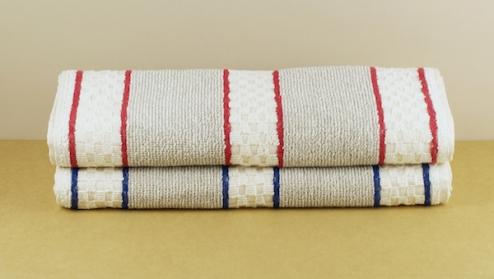 Linen/cotton roller towel blue stripe