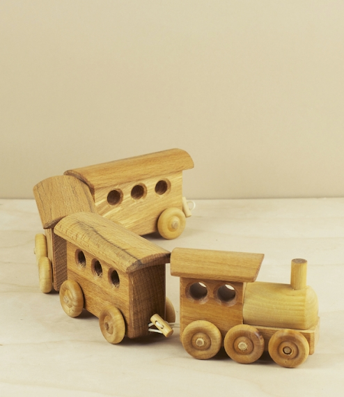 Wooden passenger train