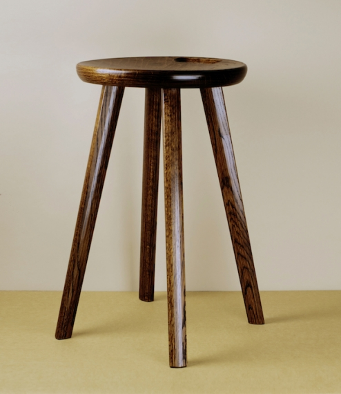 A simple four legged stool with a handle cut into the seat for easy carrying. Made entirely by the hand of Iba Takahito in Biei City, close to Asahika..