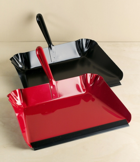 Dustpans of pressed and folded fairly heavy gauge sheet steel, with welded loop handles and a flexible rubber lip. Powder coated either red or black. ..