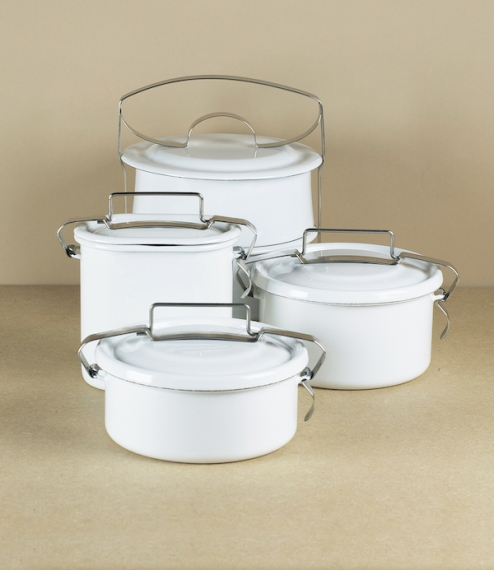 White vitreous enamel food carriers or lunch-pails. The steel and enamel construction is tough enough to be used directly on any hob (including the fr..