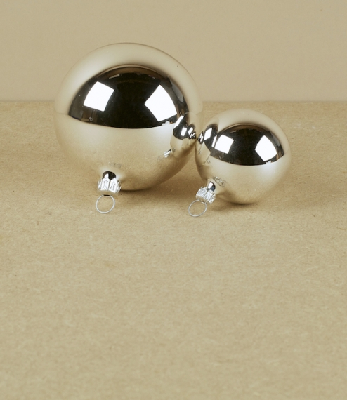 Silver mouth blown glass baubles