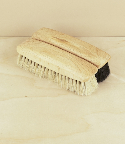 Soft shoe polishing brushes made from oiled beech and light or dark horsehair. Best used after the shoes have been allowed to absorb the (sparingly ap..