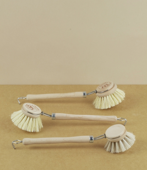 Dish brushes in the classic circular headed style, made from beech, stainless steel wire and either soft horsehair, or stiffer tampico fiber. The head..