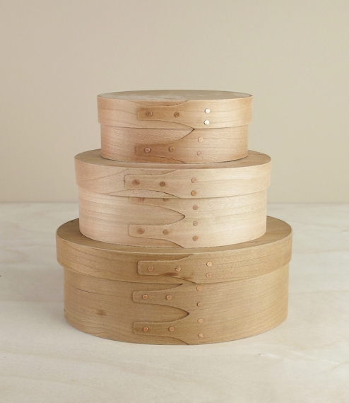 A set of 3 oval Shaker boxes, handmade of cherry to the elegantly simple and surprisingly Modern 19th century designs. Lightweight and breathable but ..
