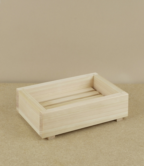 A simple two part draining soap dish from Tochigi Prefecture, Japan. Made from hinoki, a type of slow growing cypress native to the central Japanese i..