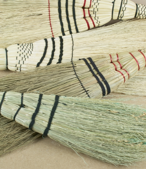 Hand brooms from Japan made of bound broom corn, a type of sorghum (also called rice straw) which was traditionally planted on the 5th June and harves..
