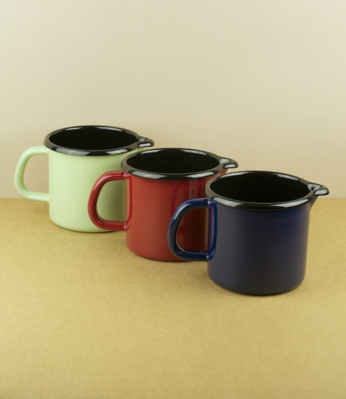 Blue, red, or pale green, black lined enamel jugs. 10cm diameter and ¾ litre capacity. Ideal for warming and serving milk, hot chocolate, custa..