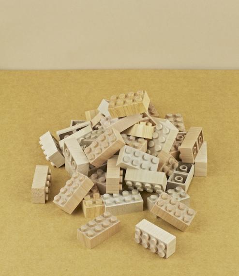 48 pieces of Mokulock, wooden building blocks