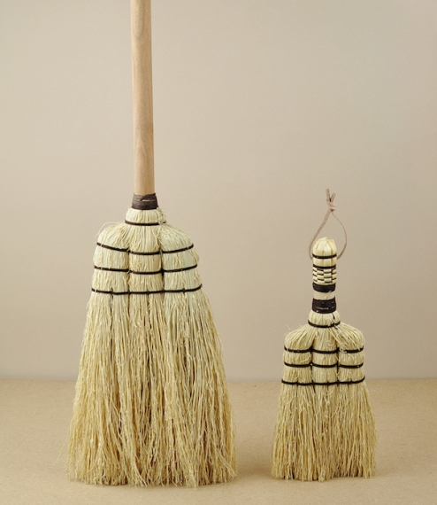 Small hand and mid-length brooms of a traditional type from a small craft workshop in Thailand. Sorghum is more commonly know as rice straw or even br..