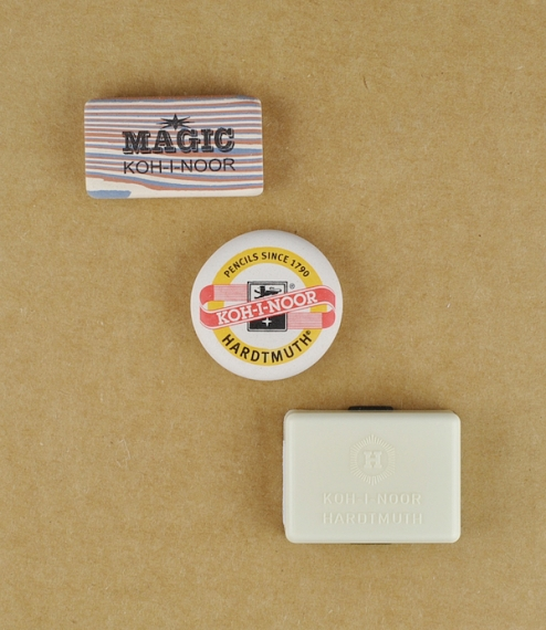 A choice of natural latex rubber erasers from České Budějovice, in the Czech Republic. The uniquely patterned 'Magic' erasers are slightly the hardest..