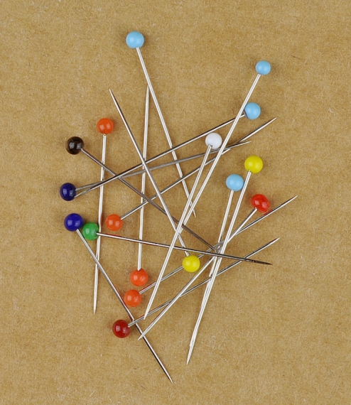 French glass headed pins, 20 grams