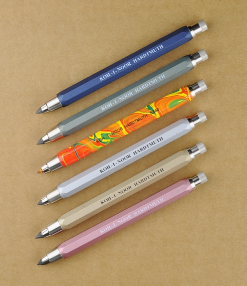 Heavy aluminium bodied sketching pencils with brass and steel clutch mechanisms and chromed fittings. Supplied with a fine 2B graphite lead as standar..