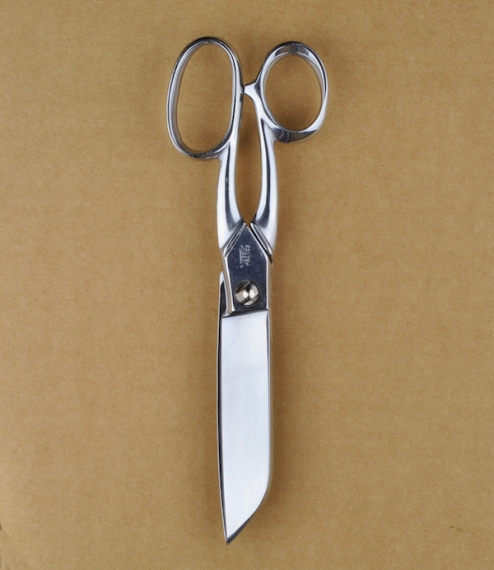 "7"" large handled chrome plated carbon steel couturière, or dressmaker's pattern cutting scissors made in small workshops in the town of Nogent in the .."