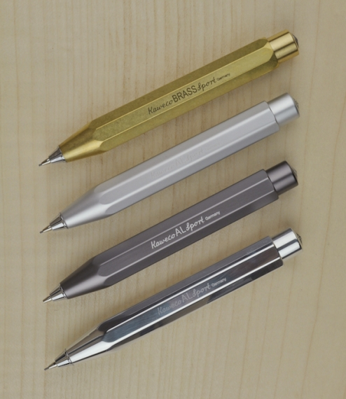 Propelling pencils milled from solid aluminium or brass blanks. A compact and adaptable push button pencil derived from, and a perfect partner for, th..