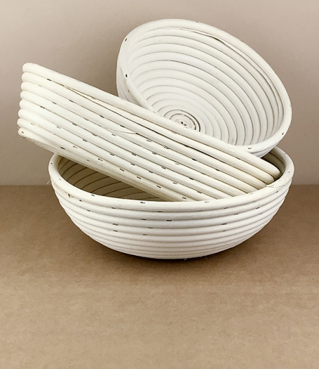 A choice of three rattan cane bread raising and forming baskets for perfect flour striped lightly ribbed loaves. We were once able to source these mad...