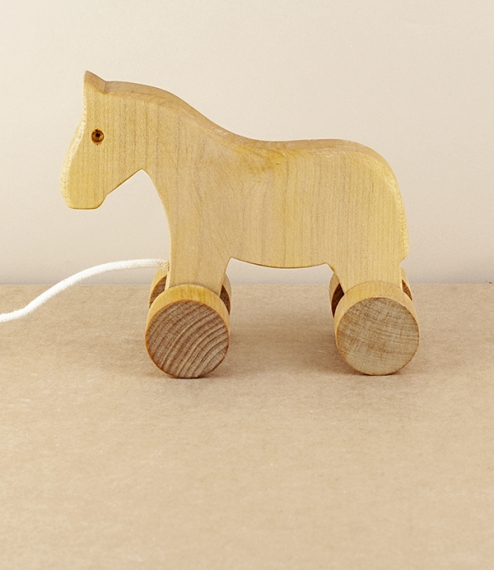 Pull along wooden horse