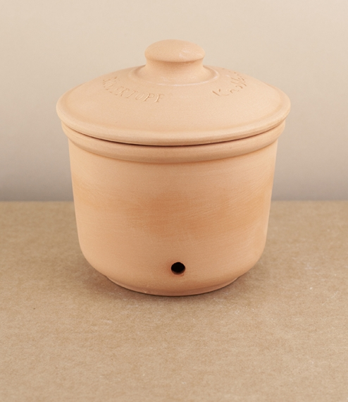 A terracotta garlic store with a glazed interior - for easier cleaning - and unglazed exterior and lid. The lid sits a little proud of the pot lid and..