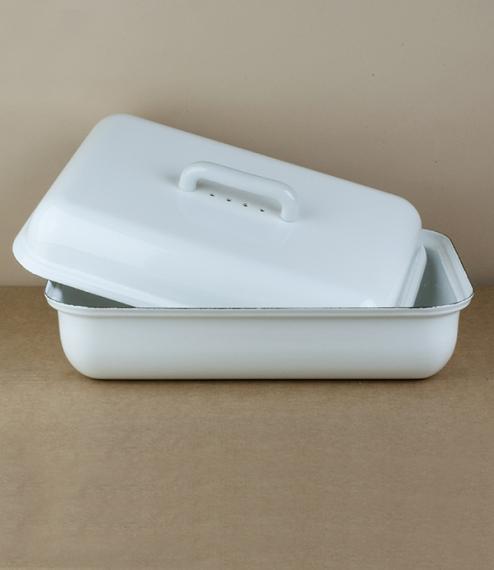White enamel bread bin
