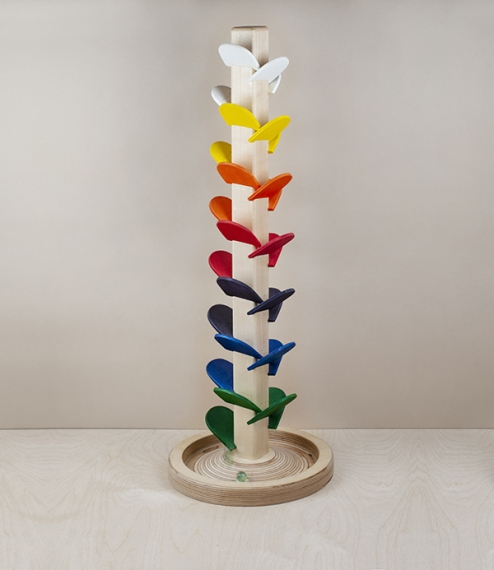 A many coloured musical tower from Hohenfried Werkstätten. Easily mistaken for a naive rainbow sculpture or else some kind of creative storage solutio..