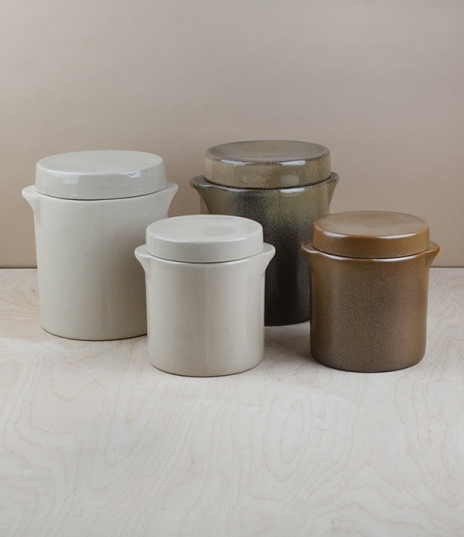 Heavy salt glazed stoneware storage and preserving jars for wet and dry foodstuffs, goods, or bread. Hand made in the northern Loire valley by Poterie...