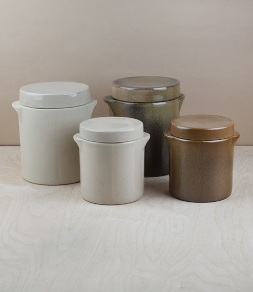 Heavy salt glazed stoneware storage and preserving jars for wet and dry foodstuffs, goods, or bread. Hand made in the northern Loire valley by Poterie..