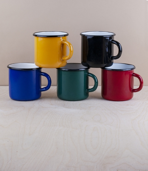 A choice of 0.4 litre 8cm diameter 8cm high black rimmed and various coloured vitreous ceramic enamel mugs from Ukraine. Firing in a traditional kiln ..