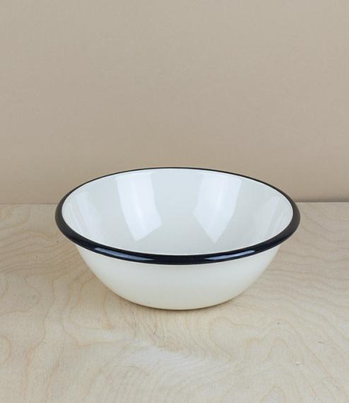 Ukrainian enamel bowl, 15cm, cream