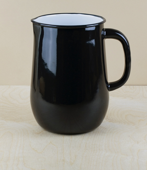 Ukrainian enamel jug 2.5l, large, black