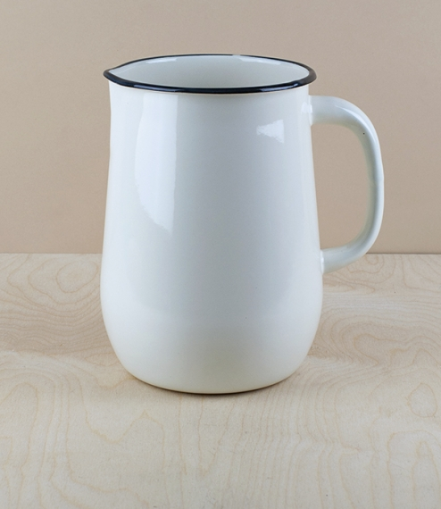 Ukrainian enamel jug 2.5l, large, cream