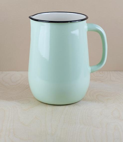 Ukrainian enamel jug 2.5l, large, pistachio