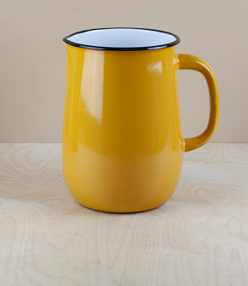 Ukrainian enamel jug 2.5l, large, yellow