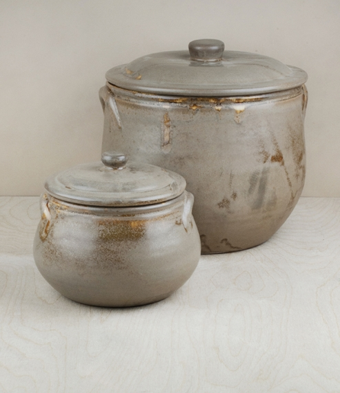 Mottled and variably coloured 'honey' glazed terracotta soup or casserole pots. Hand shaped, glazed, and finished by the artisans of Maria Terracota i..