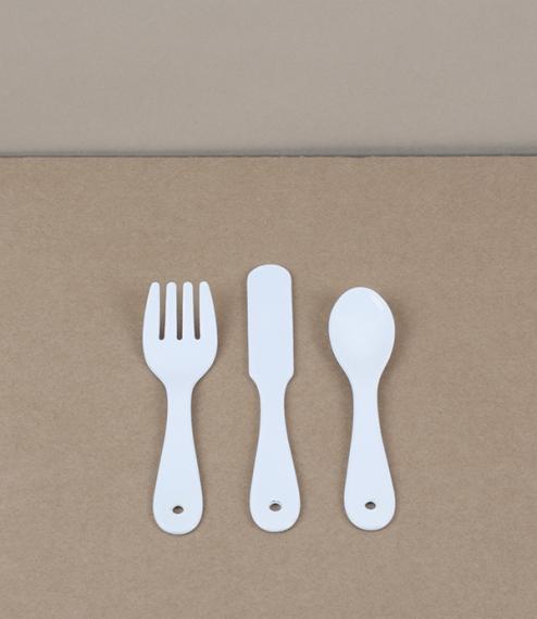 Japanese enamel baby cutlery set