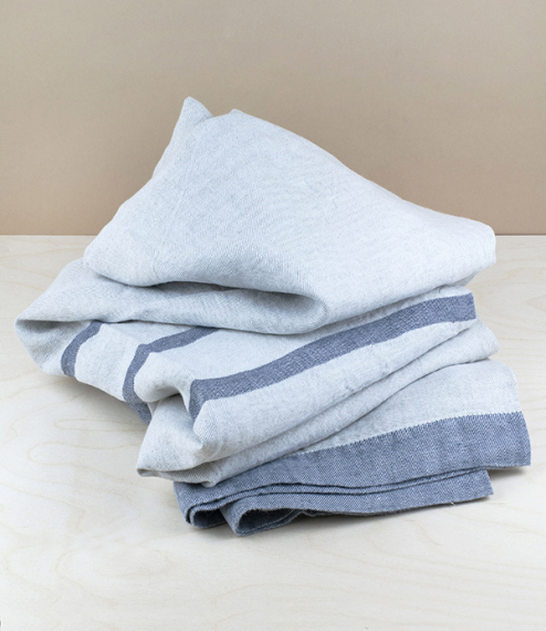 Finnish washed linen table cloth natural, grey stripe