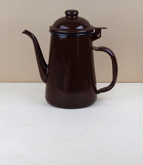 Japanese enamel coffee pot, brown