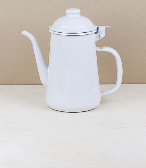 Japanese enamel coffee pot, white